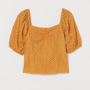 H&M Yellow Eyelet Embroidery Blouse